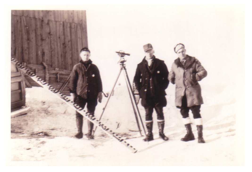 Donald R. Mellen, Wilbur C. Nylander and Norman Marquis during winter survey. Houlton, Maine - January, 1943.