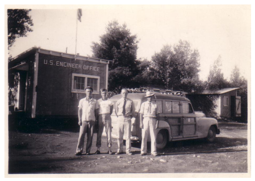 Donald R. Mellen, James C. Schoenthaler, Wilbur C. Nylander and Norman Marquis outside U.S. Engineer Office, Norridgewock, Maine, summer 1943.